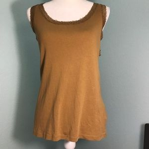 Jones NY Brown Tank Top w/lace edging, Size XL